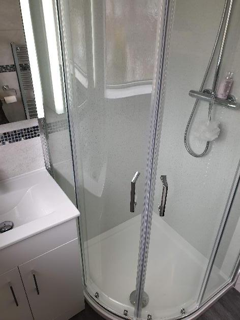 Small shower room installation Canford Heath